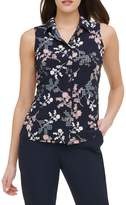 Tommy Hilfiger Gingham Floral-Print Sleeveless Shirt