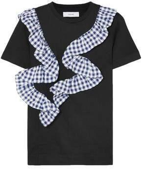 Facetasm Gingham Ruffle-trimmed Cotton-jersey T-shirt