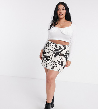 Another Reason Plus a-line mini skirt in cow print