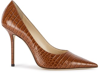 Jimmy Choo Love 100 brown leather pumps
