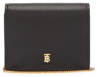 Burberry Jade Tb Grained-leather Wallet - Black