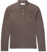 Officine Generale Garment-Dyed Slub Cotton-Jersey Polo Shirt