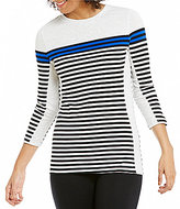 Calvin Klein Dynamic Stripe Tee With Solid Side Contrast Panel