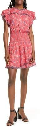 Dolan Samantha Floral Embroidery Ruffle Minidress