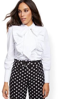 New York & Co. Petite White Poplin Ruffled Tie-Front Shirt - 7th Avenue