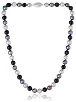 "Honora Black Tie"" Black, Jet and Grey Freshwater Cultured Pearl Necklace, 18"""