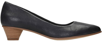 Clarks Mena Bloom Black Leather Heeled Shoe