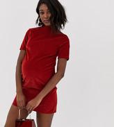 Asos DESIGN Maternity cord mini dress in rust