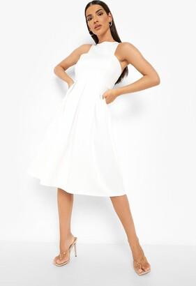 boohoo Scuba Cutaway Neckline Midi Bridesmaid Dress