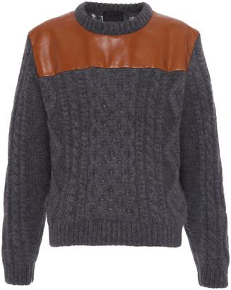 Prada Leather Panel Wool Sweater