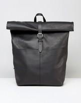 SANDQVIST Leather Rolltop Backpack In Black