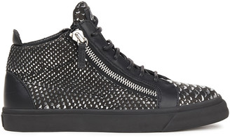 Giuseppe Zanotti Zip-detailed Metallic Snake-effect Leather High-top Sneakers