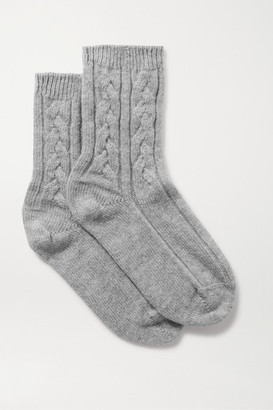 Johnstons of Elgin Cable-knit Cashmere Socks - Light gray