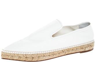 Celine White Leather Pointed Toe Slip On Espadrilles Loafer Flats Size 39