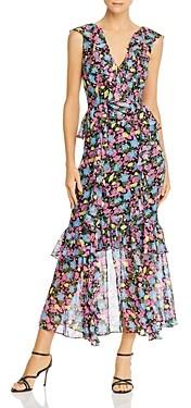 AMUR Evita Silk Ruffled Floral Dress