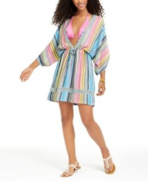 Dotti Havana Coast Striped Tunic Swim Cover-Up, Created for Macy's Women's Swimsuit