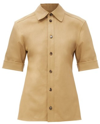 Bottega Veneta Point-collar Leather Shirt - Beige
