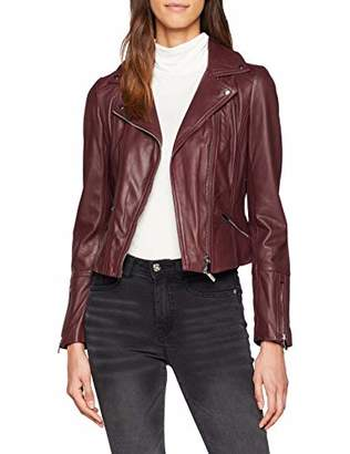 Karen Millen Women's Coloured Leather Jacket Plain Long Sleeve Jacket,(Manufacturer Size:UK )