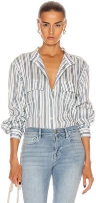 Frame Clean Safari Shirt in Off White Multi | FWRD