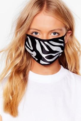 Nasty Gal Womens Herd Up Zebra Fashion Face Mask - White - One Size
