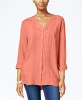 JM Collection Lace-Trim Pintucked Shirt, Only at Macy's