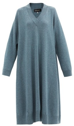 eskandar V-neck Cashmere Midi Dress - Mid Blue