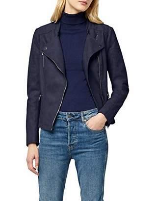 ONLY NOS Women's Onlava Faux Leather Biker Otw Noos Jacket, Grey Kalamata), Small 8 UK (Manufacturer Size: )