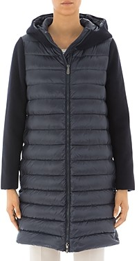 Peserico Hooded & Quilted Contrast Detail Down Coat