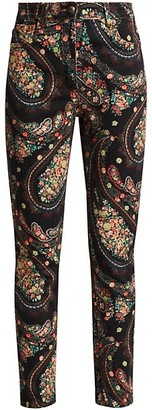 Etro Floral Paisley Swirl Skinny Jeans