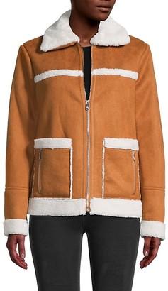 Sam Edelman Faux Suede Faux Fur-Trimmed Jacket