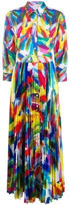 Sara Roka Pleated-Skirt Abstract Dress