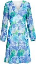 Gina Bacconi Blue green abstract print dress