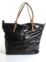 Latico Leathers Dark Brown Leathe Skinny Double Straps Large Tote Handbag
