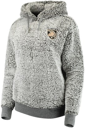 Women's Heathered Gray Army Black Knights Sherpa Inside & Out Pullover Hoodie