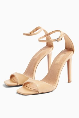 Topshop SILVY Natural Skinny Two Part Heel Sandals