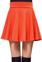 Roundshop Women's Versatile Stretchy Flared Pleated Skater Skirt L