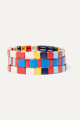 Roxanne Assoulin Regatta Set Of Three Enamel And Gold-tone Bracelets