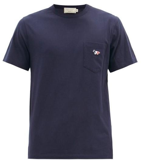 MAISON KITSUNÉ Tricolor Fox Patch Cotton T Shirt - Mens - Navy