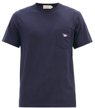 MAISON KITSUNÉ Tricolour Fox-patch Cotton-jersey T-shirt - Navy
