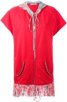 Amen layered shortsleeved hoodie - women - Cotton/Silk/metal/glass - 36