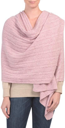 Chunky Braided Cable Cashmere Travel Scarf