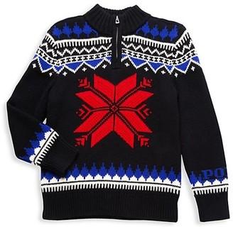 Polo Ralph Lauren Little Kid's Front-Zip Fair Isle Sweater