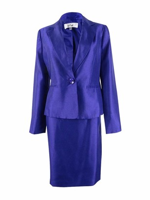 Le Suit LeSuit Women's 1 Button Shawl Collar Shiny Skirt Suit