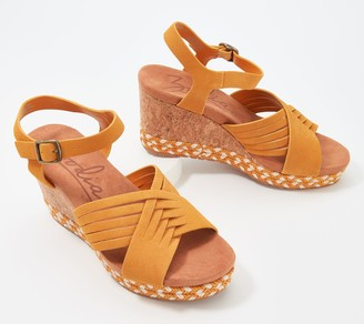 Zodiac Leather Braided Adjustable Wedges - Paola