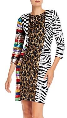 Alice + Olivia Jae Cutout Sequined Dress