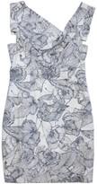 Black Halo White & Blue Floral Print Cap Sleeve Dress