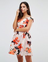 Wal G Floral Print Bardot Dress