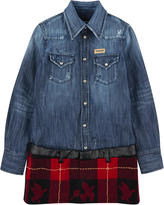 DSQUARED2 Stone-washed blue denim and checked woollen cloth dress