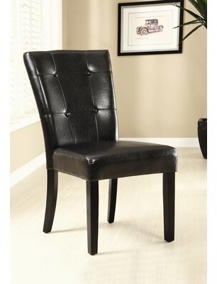 Hokku Designs Tufted Faux leather Upholstered Side Chair in Black