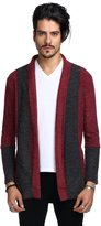 Whatlees Mens Casual Long Designer Solid Wool Blend Slim Fit Open Outwear Cardigan -M